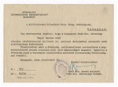Wallenberg Signed Schutz-Pass Doc, Signed in Scarce