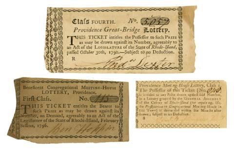 Three Early Providence, Rhode Island Lottery Tickets