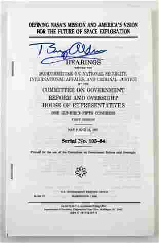 Buzz Aldrin Signed NASA Congressional Hearing Printing,