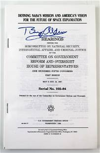 Buzz Aldrin Signed NASA Congressional Hearing Printing,