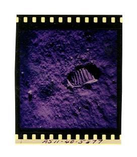 Iconic Apollo XI Color Film Negative of Aldrin's