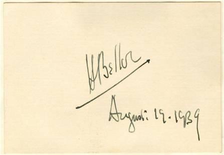 Fantastic Hilaire Belloc Cut Signature with Postcard