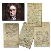 Sir Isaac Newton Highly Important Manuscript on God & C