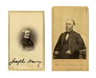Charles Adams Jr & Joseph Henry Signed Cartes de Visite