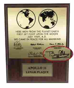 Buzz Aldrin Signed Apollo XI Lunar Plaque Replica