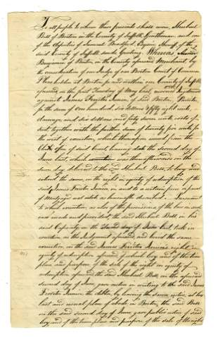 Early Boston Legal Document Involving Architect Asher