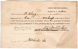 Parole of Confederate Soldier of Army of Northern