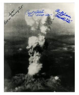 Hiroshima Mushroom Cloud Photo Signed by Three Mission