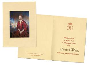 Princess Grace of Monaco Marvelous Signed Holiday Card,