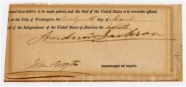 Andrew Jackson Large and Boldly Signed Clipped Document