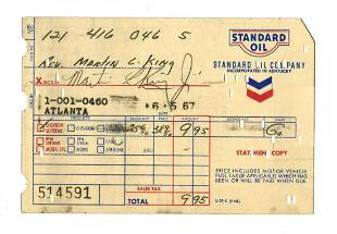 Martin Luther King Jr. Gas Receipt Signed in the Last