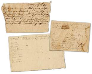 Early Colonial & Revolutionary War Documents Including