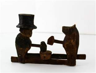 Vintage Hand-Carved Wooden Toy of Theodore Roosevelt