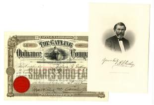 Gatling Gun Stock Certificate Issued To & Signed By