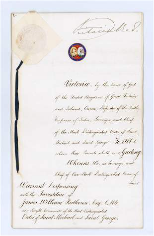 Queen Victoria Signed Order of St. Michael & St. George