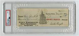 Orville Wright Signed Check to His Housekeeper, PSA