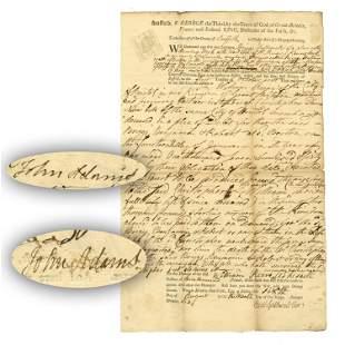 John Adams 2 Superb Signatures on Nice Document, About