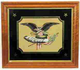 Victorian Feather Art of American Flag and Eagle