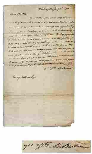 Abraham Baldwin Autograph Letter Signed re: Sam Chase,