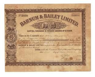 Barnum and Bailey Stock Certificate Super Rare
