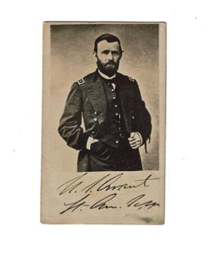 Ulysses S. Grant in mourning CDV With Printed Signature