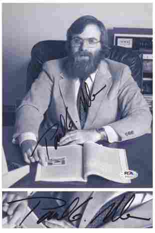 Paul Allen Signed Photo as a Young Microsoft Executive