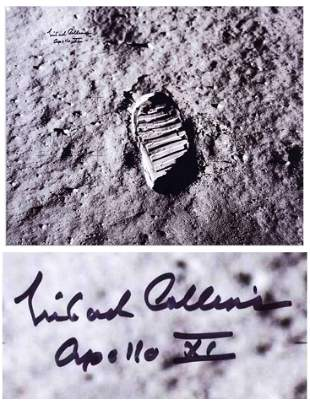 Michael Collins Huge Signed Photo of Buzz Aldrin's Boot