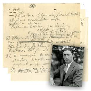 Moe Berg Signed Notes from a Telephone Conversation