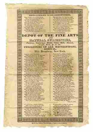 1830 Curiosities Ad Broadside: Coins, Medals,
