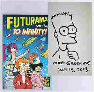 Matt Groening Original Signed Drawing of Bart Simpson