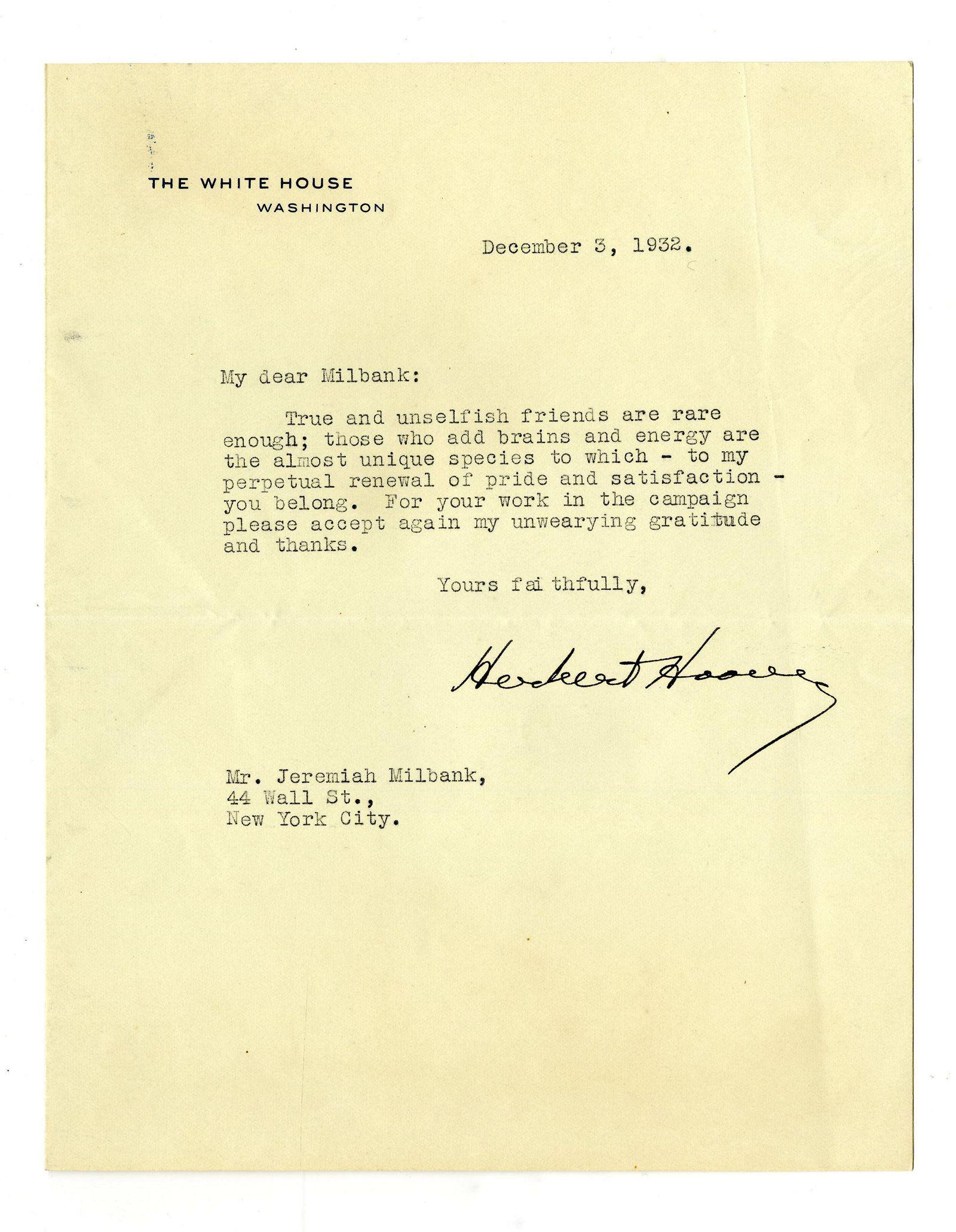 Herbert Hoover TLS on White House Stationery Re: 1932