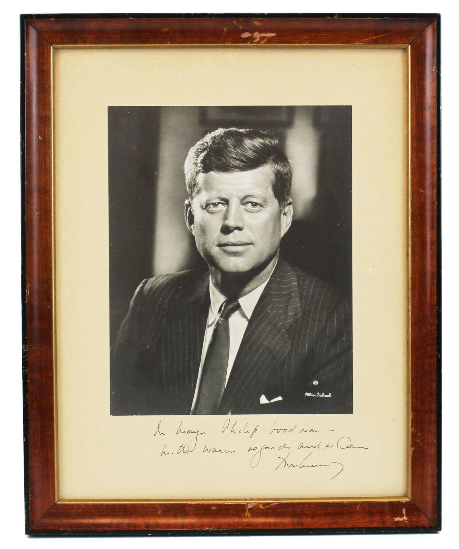 John F. Kennedy Signed & Inscribed Large Framed Photo,