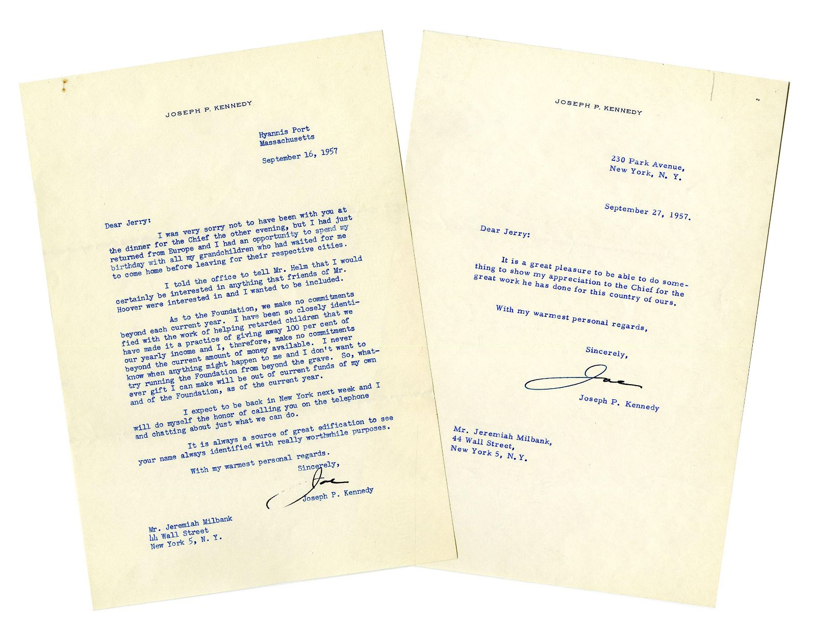 Joseph P. Kennedy Two Typed Letters Signed Regarding