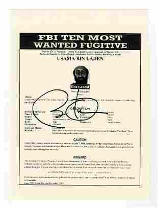 Barack Obama Signed Souvenir Wanted Poster for Osama