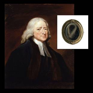 Methodist Preacher John Wesley Hair Relic,
