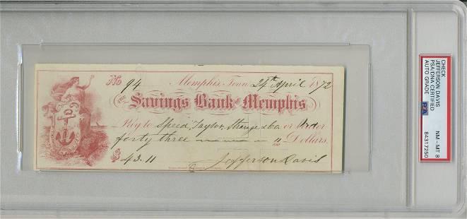 Superb Jefferson Davis Signed Check Slabbed and Graded