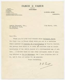 "T.S. Eliot TLS Regarding His 1931 Poem ""Triumphal"