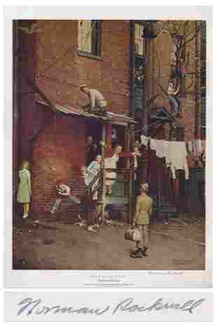Large Print Signed by Norman Rockwell of his Painting