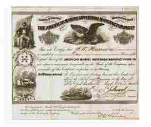 Rare Stock Certificate Signed by Francis M. Drexel