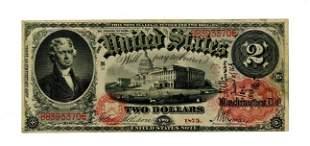 Thomas Jefferson Rare 1875 $2 Bill, Extra Fine
