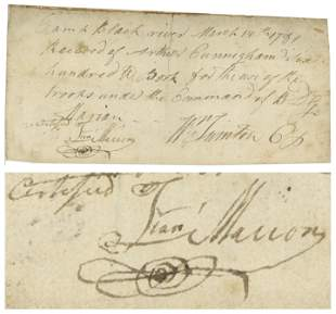 Francis Marion War Dated Document Signed