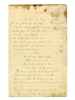 "Handwritten Copy of ""The Dear Old Flag"", A Civil War"