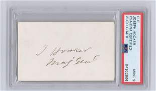 Joseph Hooker Signature & Rank, PSA Slabbed and Graded