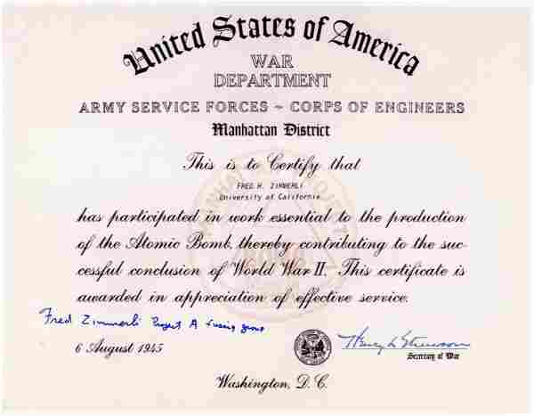 Manhattan Project Fred Zimmerli Signed Certificate