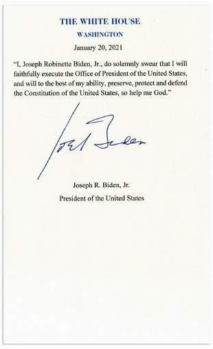 Joe Biden Signed Presidential Oath of Office