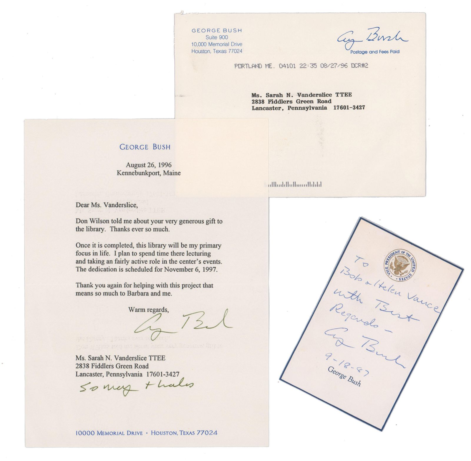 Two George Bush Signed Letters