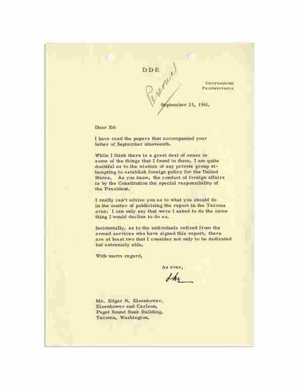 Dwight D. Eisenhower TLS to his Brother