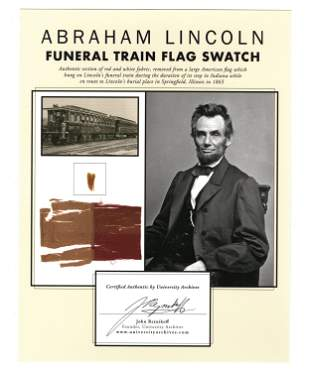 Silk Fragment from Abraham Lincoln's Funeral Train Flag