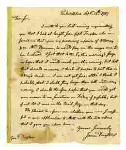 Jonathan Dayton Autograph Letter Signed Serving on NJ