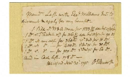 Oliver Ellsworth Autograph Document Signed for